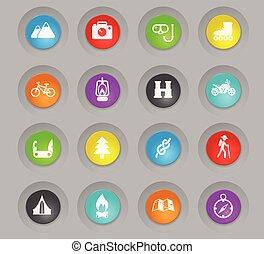 pihenés, állhatatos, színezett, műanyag, gombok, aktivál, kerek, ikon