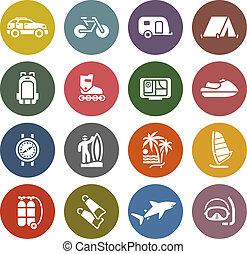 pihenés, állhatatos, &, szünidő, ikonok, utazás