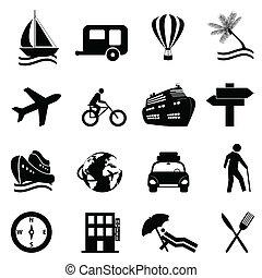 pihenés, állhatatos, utazás, ikon, szabad