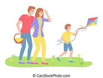 pihenés activities, szülők, család, szórakozási, papírsárkány, idő slicc, látszó, fiú, külső