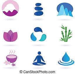 pihenés, ikon, wellness, jóga