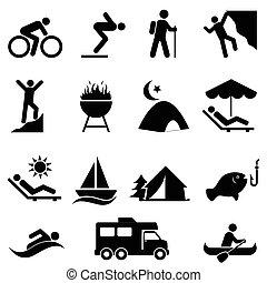 pihenés, külső, szabad, ikonok
