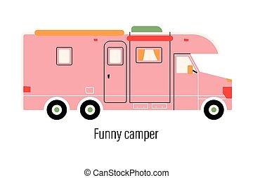 pihenés, recreation., saját megvendégelés, camper., mozgatható, vektor, autó., ábra, színes, out-of-town, háttér, külső, elszigetelt