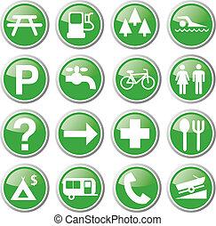 pihenés, zöld, ikonok
