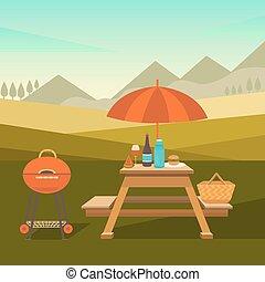 piknik, liget, ábra
