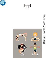 pilates, jóga, nők, tréning, állhatatos, vektor, állóképesség, aerobic, lakás