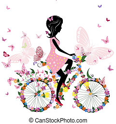 pillangók, bicikli, romantikus, leány
