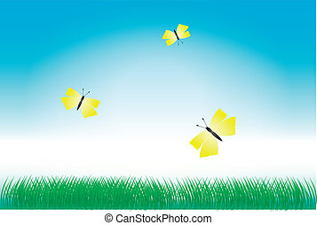 pillangók, fű, zöld, sárga