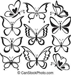 pillangók, fekete, körvonal