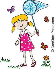 pillangók, fertőző, kicsi lány