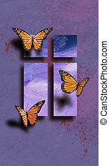 pillangók, húsvét, kereszt