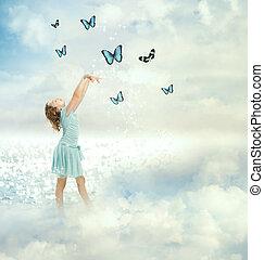 pillangók, kicsi lány