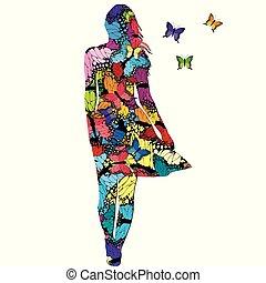 pillangók, nő, elvont, színezett