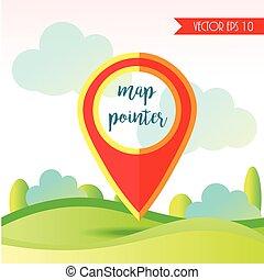 pin., ábra, vektor, elhelyezés, icon., mutató, táj