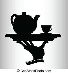 pincér, őt elhoz, vektor, árnykép, tea