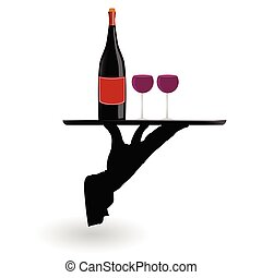 pincér, szállít tálca, szemüveg, bor