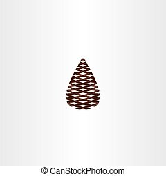 pinecone, jelkép, vektor, ikon