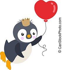 pingvin, király, szív alakzat, balloon, repülés, csinos