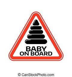 piramis, árnykép, autó, böllér, aláír, háttér., bizottság, gyermek, csecsemő, háromszög, fehér, warning., piros