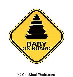 piramis, árnykép, autó, böllér, sárga cégtábla, háttér., bizottság, gyermek, csecsemő, fehér, rombusz, warning.