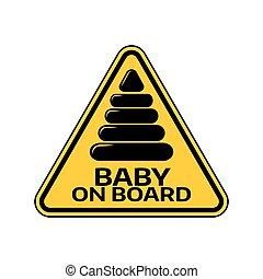 piramis, árnykép, autó, böllér, sárga cégtábla, háttér., bizottság, gyermek, csecsemő, háromszög, fehér, warning.