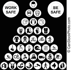 piramis, gyűjtés, egészség, biztonság, fehér, ikon