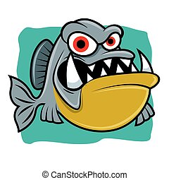 piranha, betű, fish, mérges, tenger, háttér, éles, kabala, karikatúra, fog, -, kék, nagy, vektor