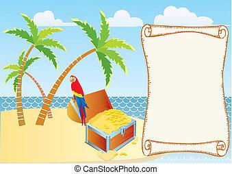 pirate's, palms., papagáj, háttér, vektor, karikatúrák, kincs