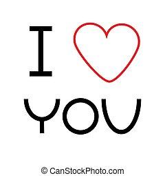 piros, ön, kártya, szeret, heart., lakás, nagy, design.