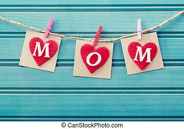 piros, üzenet, filc, nap, anyák