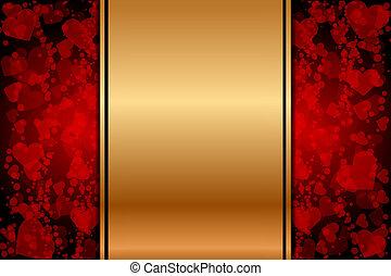 piros, arany, háttér, piros