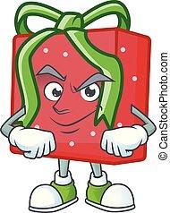 piros arc, mód, tehetség, karikatúra, kabala, önelégült mosoly, doboz