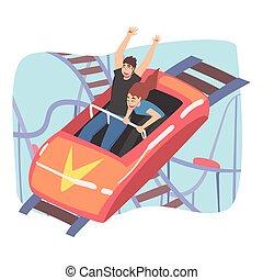 piros autó, vektor, liget, párosít, ábra, lovaglás, kilátás, móka, emberek, szórakozás, karikatúra, fiatal, kicsi, poháralátét, mód, hajcsavaró, nyit tető, gyorsan, birtoklás, izgatott