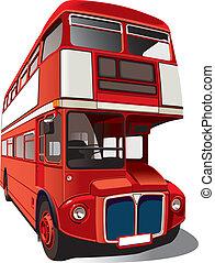 piros, autóbusz, emeletes busz