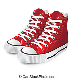 piros, cipő, sport