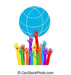 piros, globe., színezett, hatalom kezezés