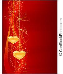 piros, háttér, romantikus, arany, piros