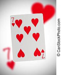 piros, hét, játék kártya