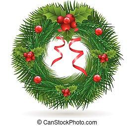 piros, karácsony, szalag, koszorú