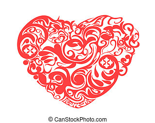 piros, motívum, szív