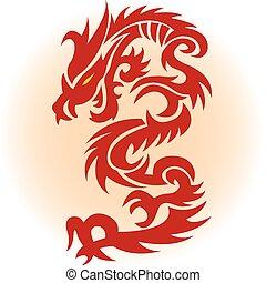 piros, sárkány