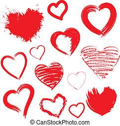 piros, set., vektor, drawn., kéz