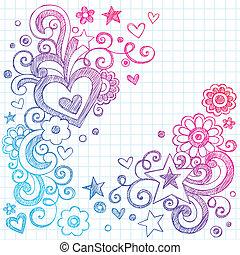 piros, sketchy, vektor, szeret, doodles