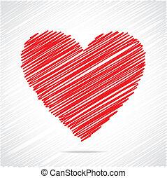 piros szív, skicc, tervezés