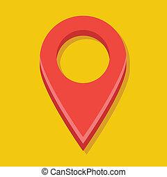 piros, térkép, vektor, címke