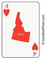 piros, usa, játék kártya, 4