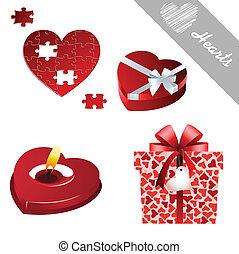 piros, valentine's, ikonok