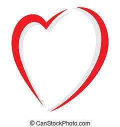 piros, vektor, szív