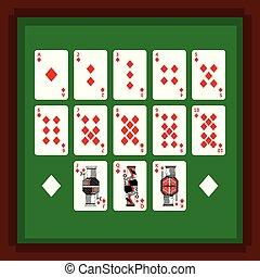 piszkavas, állhatatos, gyémánt, zöld öltöny, kártya, asztal, játék