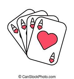 piszkavas, kártya, szív, kaszinó